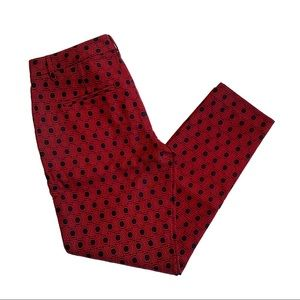 Fossil Mod Trouser Red And Black Patterned Size 6